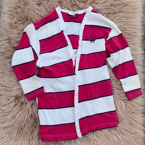 Vintage cardigan pink white striped